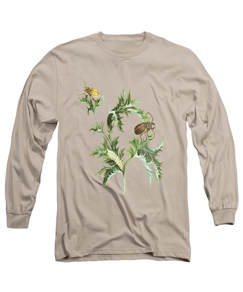Beetles With Larvae On A Thistle By Cornelis Markee 1763 Long Sleeve T-Shirt