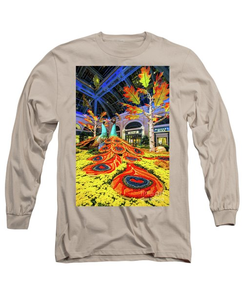 Bellagio Conservatory Fall Peacock Display Side View  Long Sleeve T-Shirt