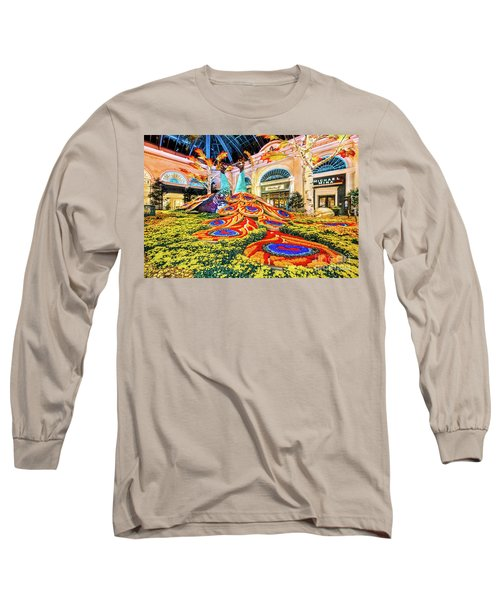 Bellagio Conservatory Fall Peacock Display Side View Wide 2017 Long Sleeve T-Shirt