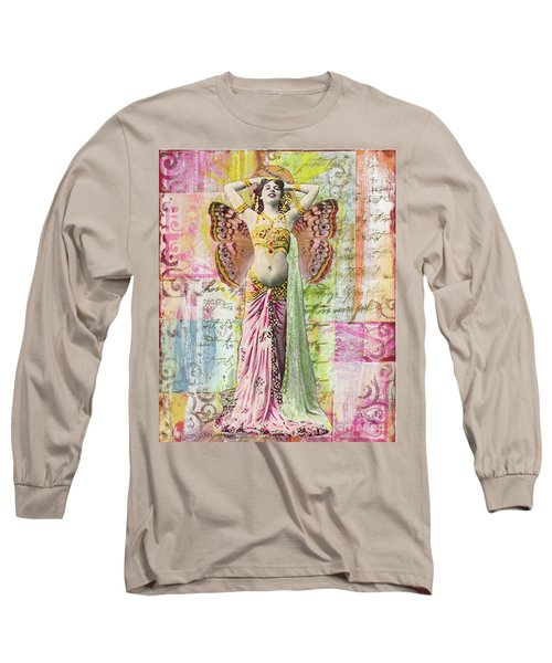 Long Sleeve T-Shirt featuring the mixed media Belly Dancer by Desiree Paquette