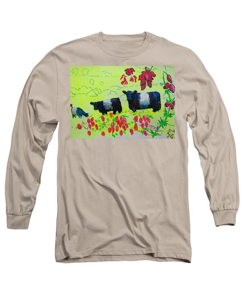 Belted Galloway Cows And Heather Illustration Long Sleeve T-Shirt