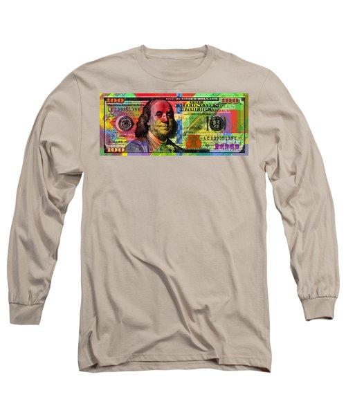 Benjamin Franklin $100 Bill - Full Size Long Sleeve T-Shirt