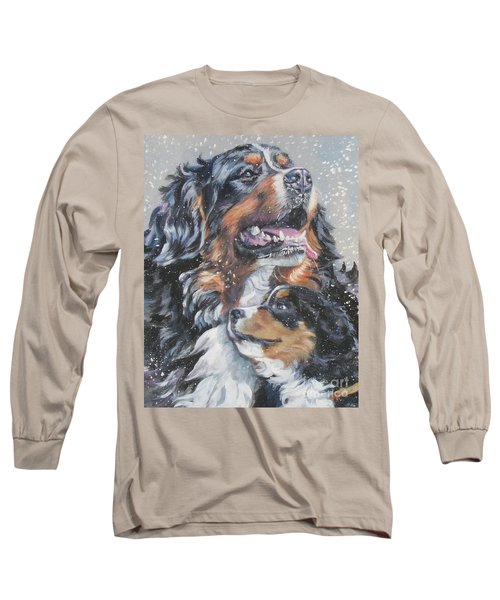 Bernese Mountain Dog With Pup Long Sleeve T-Shirt by Lee Ann Shepard