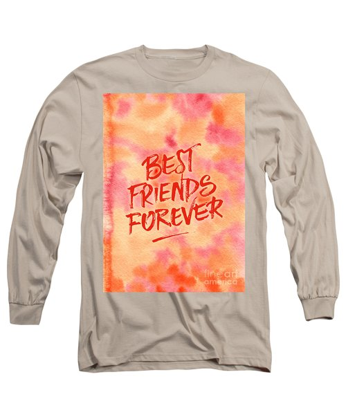 Best Friends Forever Handpainted Abstract Watercolor Pink Orange Long Sleeve T-Shirt