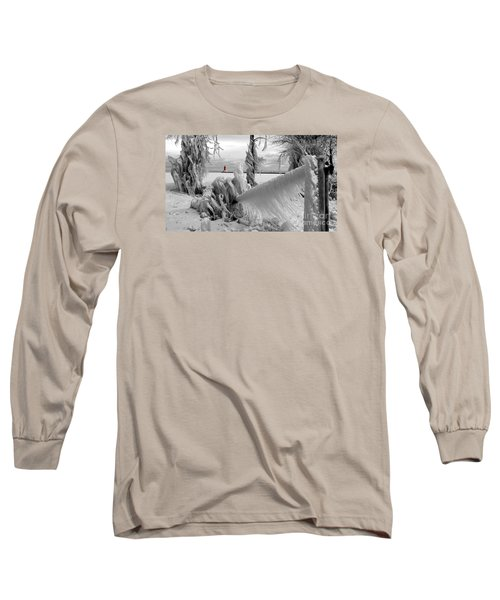 Long Sleeve T-Shirt featuring the photograph Beyond The Icy Gate - Menominee North Pier Lighthouse by Mark J Seefeldt