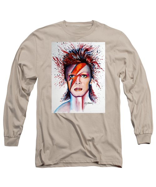 Long Sleeve T-Shirt featuring the painting Bi Bi Bowie by Maria Barry