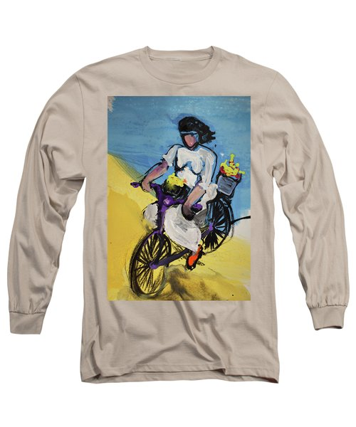 Bicycle Riding With Baskets Of Flowers Long Sleeve T-Shirt