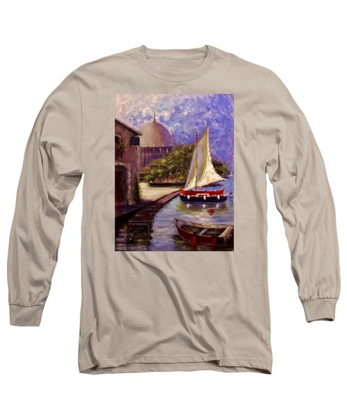 Long Sleeve T-Shirt featuring the painting Bienvenue A Yvoire.. by Cristina Mihailescu