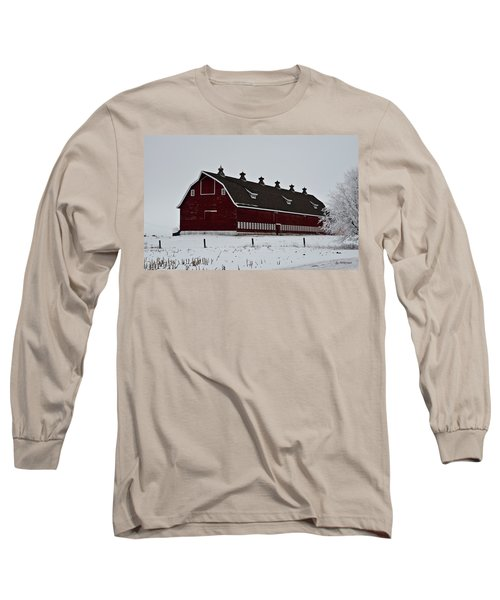 Big Red Barn In The Winter Long Sleeve T-Shirt