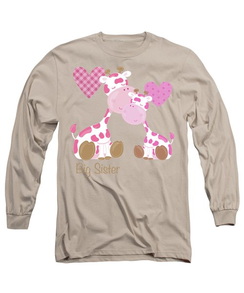 Big Sister Cute Baby Giraffes And Hearts Long Sleeve T-Shirt by Tina Lavoie