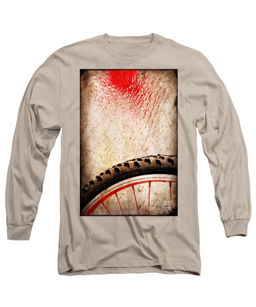 Bike Wheel Red Spray Long Sleeve T-Shirt by Silvia Ganora