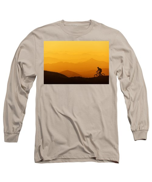 Biker Riding On Mountain Silhouettes Background Long Sleeve T-Shirt