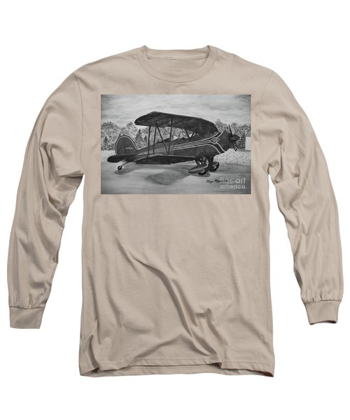 Biplane In Black And White Long Sleeve T-Shirt by Megan Cohen