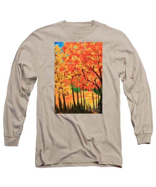 Long Sleeve T-Shirt featuring the painting Birch Tree /autumn Leaves by Nancy Czejkowski