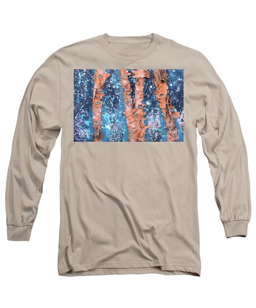 Long Sleeve T-Shirt featuring the mixed media Birch Trees With Eyes by Genevieve Esson