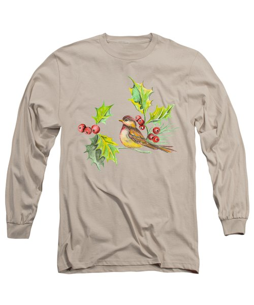 Bird Holly And Berries Long Sleeve T-Shirt