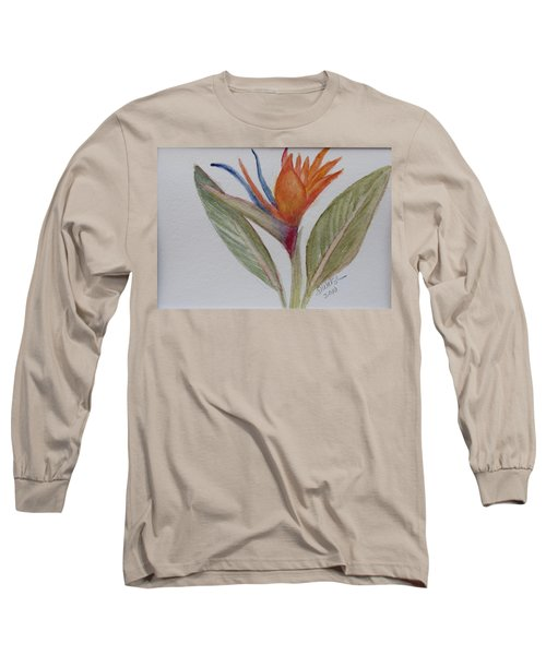 Long Sleeve T-Shirt featuring the painting Bird Of Paradise by Donna Walsh