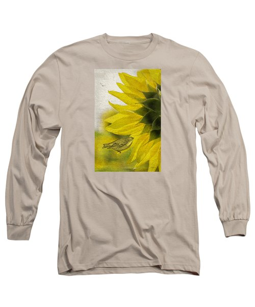 Long Sleeve T-Shirt featuring the photograph Bird On Sunflower by Betty Denise