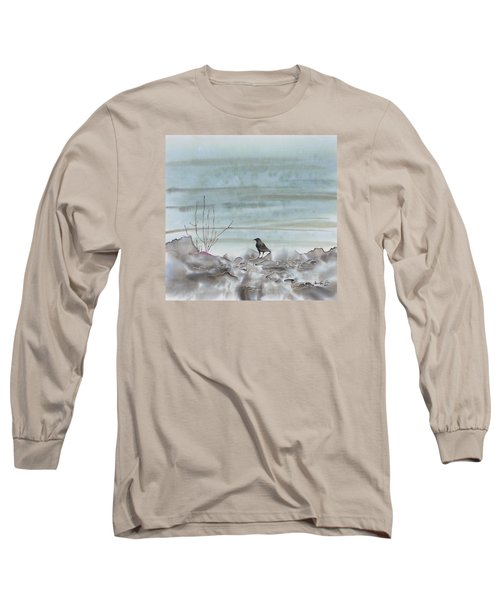 Bird On The Shore Long Sleeve T-Shirt by Carolyn Doe