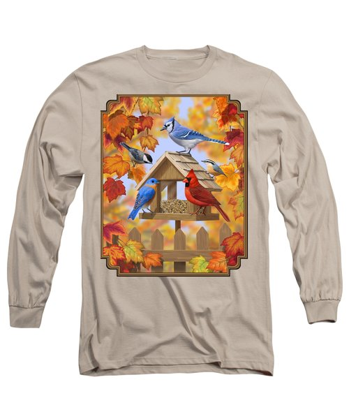 Bird Painting - Autumn Aquaintances Long Sleeve T-Shirt by Crista Forest