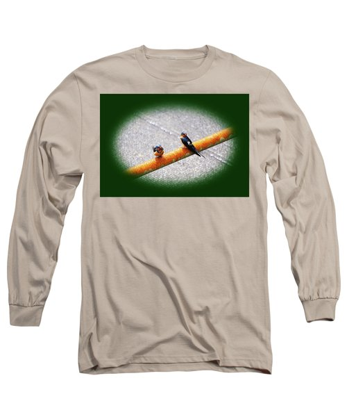 Birds On A Pipe Long Sleeve T-Shirt by Angi Parks