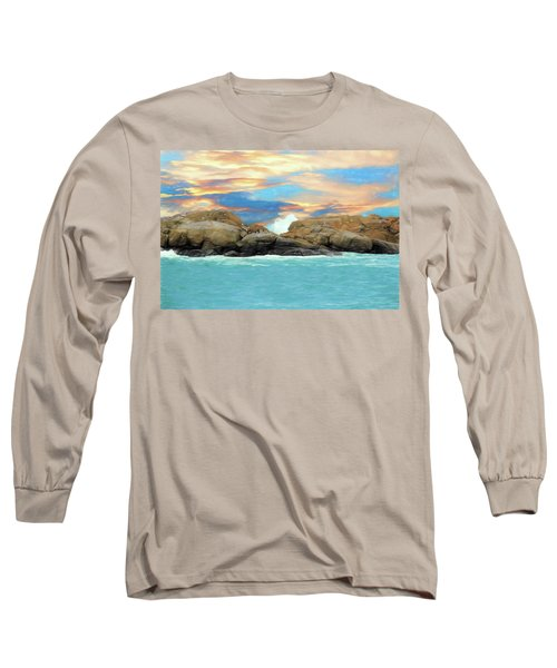 Birds On Ocean Rocks Long Sleeve T-Shirt