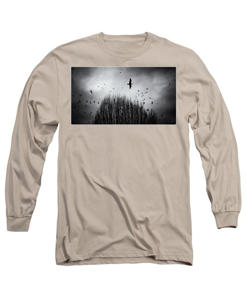 Birds Over Bush Long Sleeve T-Shirt by Peter v Quenter