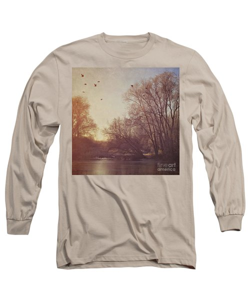 Long Sleeve T-Shirt featuring the photograph Birds Take Flight Over Lake On A Winters Morning by Lyn Randle