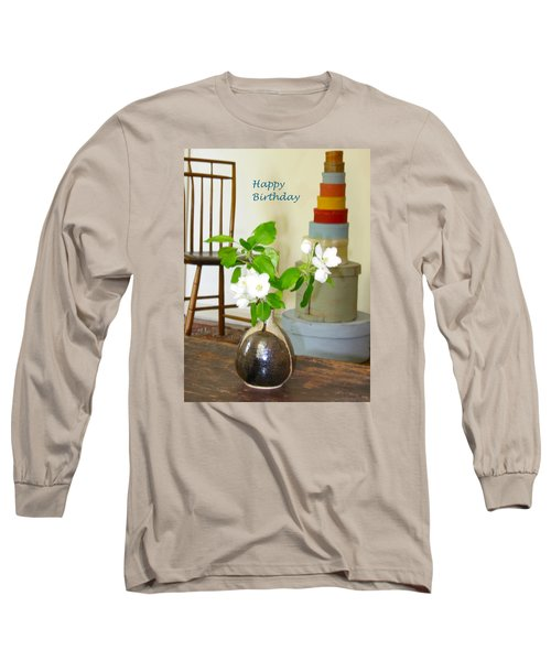 Birthday Apple Blossoms Long Sleeve T-Shirt by Deborah Dendler