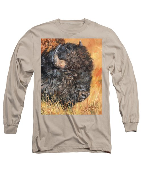 Long Sleeve T-Shirt featuring the painting Bison by David Stribbling
