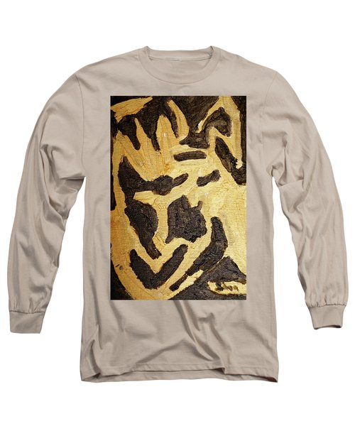 Black And Gold Mask Long Sleeve T-Shirt by Shea Holliman