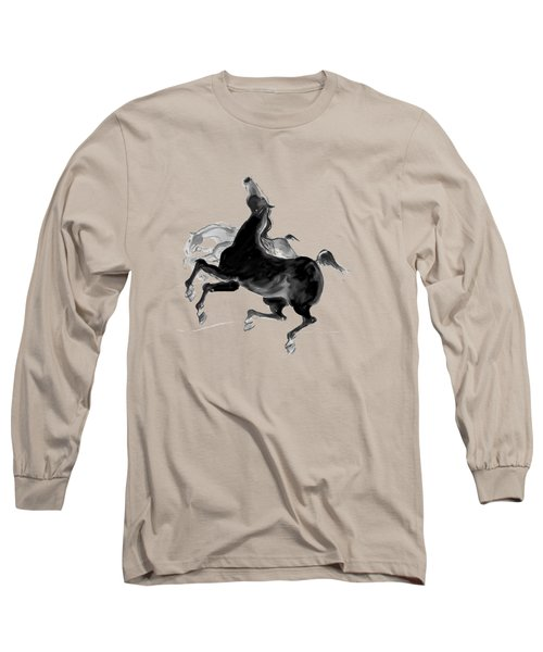 Long Sleeve T-Shirt featuring the drawing Black And Proud by Mary Armstrong