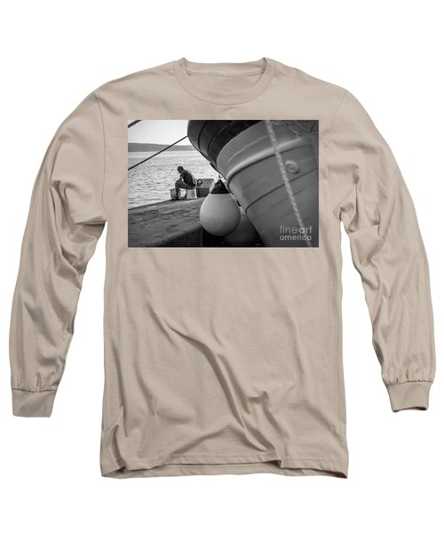 Black And White - Fisherman Cleaning Fish On Docks Of Kastel Gomilica, Split Croatia Long Sleeve T-Shirt