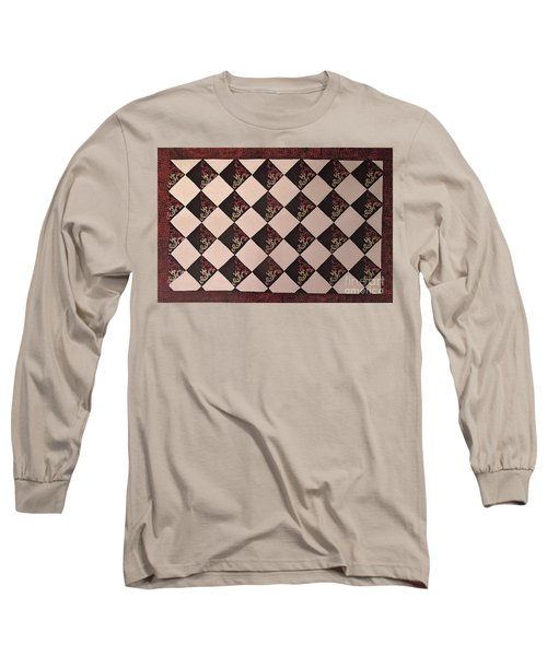 Black And White Checkered Floor Cloth Long Sleeve T-Shirt