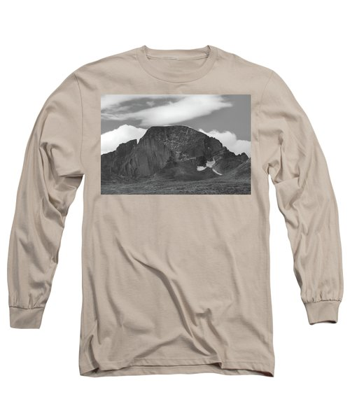 Long Sleeve T-Shirt featuring the photograph Black And White Longs Peak Detail by Dan Sproul