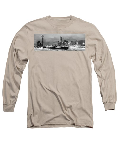 Black And White Panorama Of Downtown Dallas Skyline From South Houston Street - Dallas North Texas Long Sleeve T-Shirt