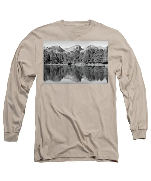 Long Sleeve T-Shirt featuring the photograph Black And White Sprague Lake Reflection by Dan Sproul