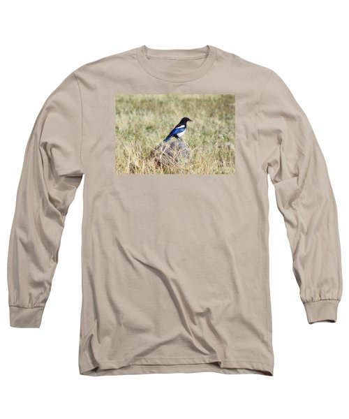Black-billed Magpie Long Sleeve T-Shirt by Janie Johnson