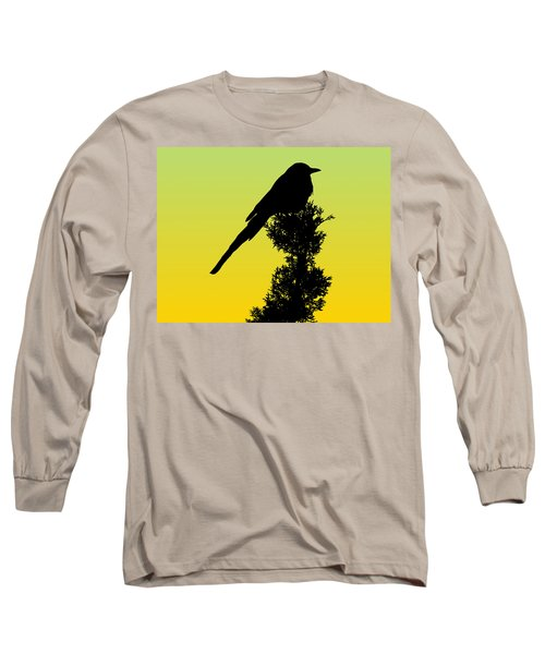 Black-billed Magpie Silhouette - Special Request Background Long Sleeve T-Shirt