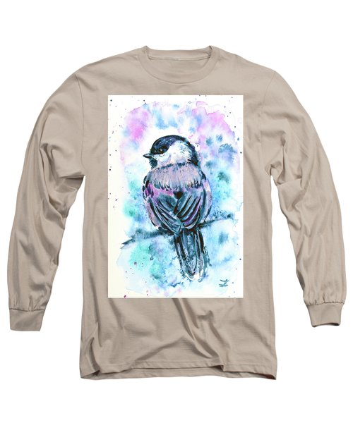 Long Sleeve T-Shirt featuring the painting Black-capped Chickadee by Zaira Dzhaubaeva