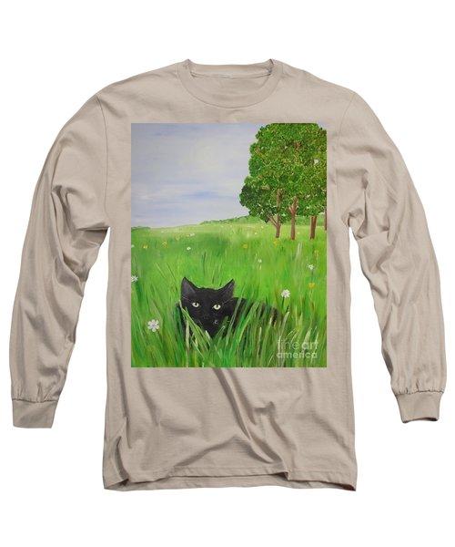 Black Cat In A Meadow Long Sleeve T-Shirt