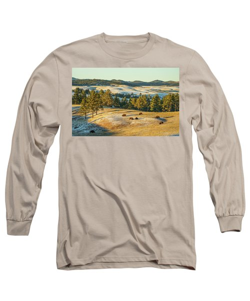 Long Sleeve T-Shirt featuring the photograph Black Hills Bison Before Sunset by Bill Gabbert