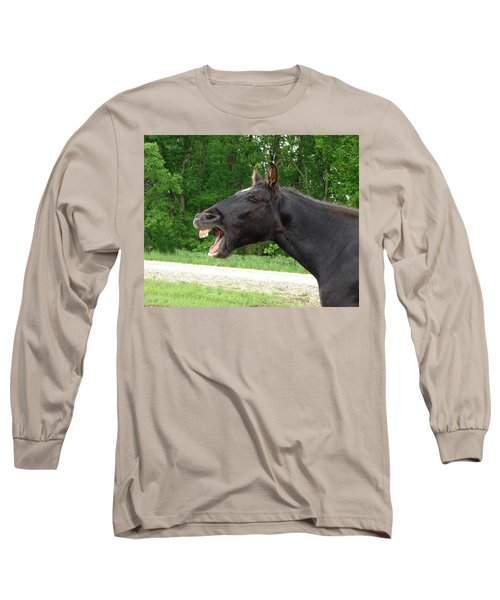 Black Horse Laughs Long Sleeve T-Shirt by Jana Russon