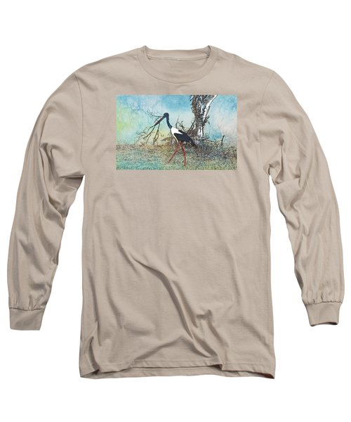 Black Neck Stork  Long Sleeve T-Shirt by Manjot Singh Sachdeva