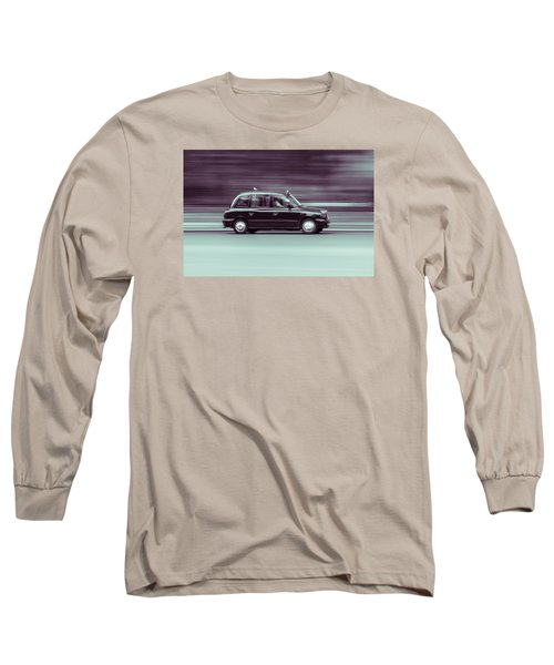 Black Taxi Bw Blur Long Sleeve T-Shirt