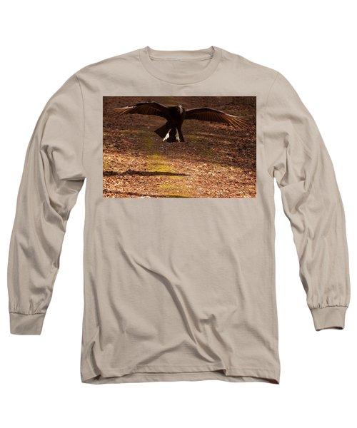 Long Sleeve T-Shirt featuring the digital art Black Vulture Landing by Chris Flees