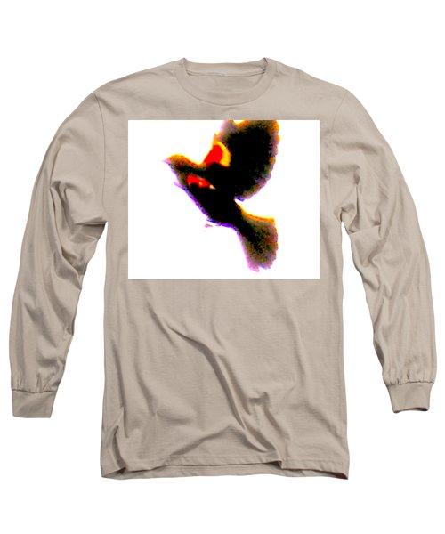 Blackbird Impressionism Long Sleeve T-Shirt by Veronica M Gabet