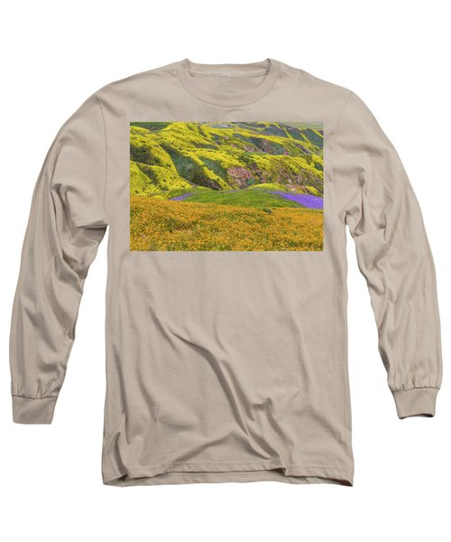 Blazing Star On Temblor Range Long Sleeve T-Shirt by Marc Crumpler