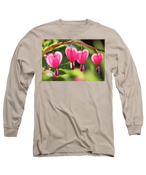 Long Sleeve T-Shirt featuring the photograph Bleeding Hearts by Skip Tribby