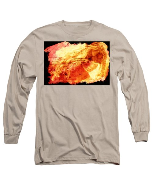 Blonde On Red Fire Long Sleeve T-Shirt by Andrea Barbieri